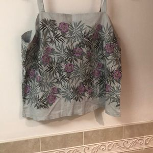 GAP grey tank top extra large with colorful flower